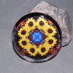 Sunflower Glass Paperweight Boho Chic Mandala New Age Sacred Geometry Kaleidoscope Vibrant Illumination