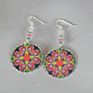 Butterfly Earrings Silver Mandala Sacred Geometry Kaleidoscope Nymph Nirvana
