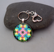 Rose Chakra Purse Charm Keychain Zen Boho Chic Mandala New Age Sacred Geometry Hippie Kaleidoscope Gypsy Unique Gift For Her Flamboyant Harmony