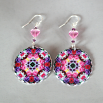 Rose Earrings Silver Mandala Sacred Geometry Kaleidoscope Petals of Poise