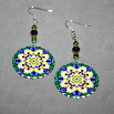 Daisy Earrings Silver Mandala Sacred Geometry Kaleidoscope Sunny Splendor