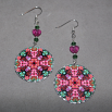 Rose Earrings Dangle Boho Chic Mandala New Age Sacred Geometry Hippie Kaleidoscope Smitten