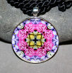 Rose Pendant Necklace Boho Chic Mandala New Age Sacred Geometry Kaleidoscope A Fanciful Fondness