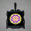 Pansy Trivet Cast Iron Boho Chic Mandala New Age Sacred Geometry Hippie Kaleidoscope Blissful Beliefs