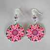 Gladiola Earrings Silver Mandala Sacred Geometry Kaleidoscope Pink Infatuation