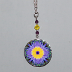 Lotus Flower Charm Necklace Silver Mandala Sacred Geometry Kaleidoscope Amethyst Supernova
