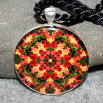 Orchid Geometric Pendant kaleidoscope mandala necklace Blazing Beauty