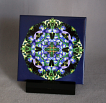Sale Special Iris Decorative Ceramic Tile Coaster Sacred Geometry Geometric Kaleidoscope Cerulean Credence