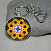 Sunflower Keychain Purse Charm Boho Chic Mandala New Age Sacred Geometry Hippie Kaleidoscope Dynamic Devotion