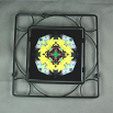 Bumble Bee Trivet Black Iron Ceramic Tile Mandala Sacred Geometry Kaleidoscope Busy Bee