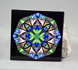 Tiger Swallowtail Butterfly Decorative Ceramic Tile Coaster Sacred Geometry Kaleidoscope Aurora's Aria