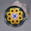 Sunflower Glass Paperweight Boho Chic Mandala New Age Sacred Geometry Kaleidoscope Dynamic Devotion