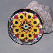 Sunflower Glass Paperweight Boho Chic Mandala New Age Sacred Geometry Kaleidoscope Bohemian Bliss