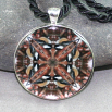 Chickadee Pendant Sacred Geometry Mandala Kaleidoscope Medallion Necklace Cheerful Chirper