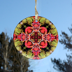 Autumn Leaves Glass Suncatcher Mandala Kaleidoscope Geometric Fall Dreamcatcher