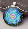 Rainbow Rose Mandala Pendant Necklace Boho Chic Chakra New Age Sacred Geometry Kaleidoscope Unique Gift For Her Kaleidoscopic Symphony