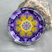 Pansy Glass Paperweight Boho Chic Mandala New Age Sacred Geometry Kaleidoscope Endearing Memories