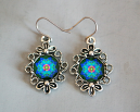 Rainbow Rose Mandala Earrings Flower Bezel Boho Chic Sacred Geometry Hippie Kaleidoscope Gypsy New Age Unique Gift For Her Kaleidoscopic Symphony