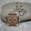 Chickadee Key Chain Sacred Geometry Mandala Cheerful Chirper