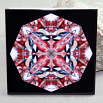 Chickadee Decorative Ceramic Tile Sacred Geometry Mandala Kaleidoscope Cheerful Chirper