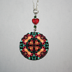 Rose Charm Pendant Boho Chic Mandala New Age Sacred Geometry Hippie Kaleidoscope Everlasting Love