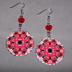 Rose Earrings Dangle Boho Chic Mandala New Age Sacred Geometry Hippie Kaleidoscope Winter Romance