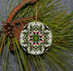 Ornament Christmas Ceramic Grosbeak Songbird Mandala All Occasion Sacred Geometry Kaleidoscope Boho Chic New Age Bohemian Modern Unique Bleeding Heart