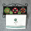 Towel Rack and Shelf with Sacred Geometry Mandala Ceramic Tiles Wildlife 2