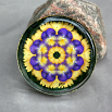 Pansy Glass Paperweight Boho Chic Mandala New Age Sacred Geometry Kaleidoscope Blissful Beliefs
