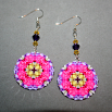 Rose Earrings Dangle Boho Chic Mandala New Age Sacred Geometry Hippie Kaleidoscope A Fanciful Fondness