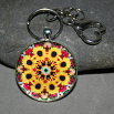 Sunflower Keychain Bag Charm Boho Chic Mandala New Age Sacred Geometry Kaleidoscope Bohemian Bliss