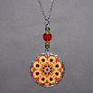 Sunflower Charm Pendant Boho Chic Mandala New Age Sacred Geometry Hippie Kaleidoscope Bohemian Bliss
