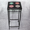 Black Iron Accent Table Side Table with Ceramic Tile Top Sacred Geometry Mandala