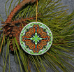 Ornament Christmas Ceramic Monarch Butterfly Mandala All Occasion Sacred Geometry Kaleidoscope Boho Chic New Age Bohemian Modern Unique Jeweled Jubilee