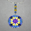 Daffodil Charm Necklace Silver Mandala Sacred Geometry Kaleidoscope Sentimental Spring