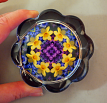 Daffodil Flower Glass Paperweight Sacred Geometry Mandala Kaleidoscope Unique Boss Gift Coworker Gift Teacher Gift Sentimental Spring