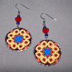 Sunflower Earrings Dangle Boho Chic Mandala New Age Sacred Geometry Hippie Kaleidoscope Vibrant Illumination