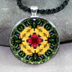 Dragonfly Pendant Sacred Geometry Mandala Kaleidoscope Necklace Do-si-do