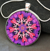 Heart Pendant Necklace Boho Chic Mandala New Age Sacred Geometry Kaleidoscope Thats Amore