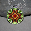 Butterfly Pendant Necklace Boho Chic Mandala New Age Sacred Geometry Kaleidoscope Free Spirit