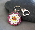 Daisy Keychain Purse Charm Boho Chic Mandala New Age Sacred Geometry Hippie Kaleidoscope Reflections Of A Virtuous Love