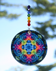 Rainbow Rose Glass Suncatcher Chakra Mandala Boho Chic New Age Sacred Geometry Hippie Kaleidoscope Meditation Zen Unique Gift For Her Spectrum Of An Open Heart