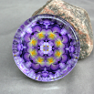 Pansy Glass Paperweight Boho Chic Mandala New Age Sacred Geometry Kaleidoscope Purple Prose