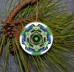 Ornament Christmas Ceramic Nuthatch Bird Mandala All Occasion Sacred Geometry Kaleidoscope Boho Chic New Age Bohemian Modern Unique Napping Nuthatch