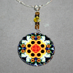 Sunflower Charm Necklace Silver Mandala Sacred Geometry Kaleidoscope Perpetual Hope