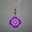 Pansy Charm Necklace Boho Chic Mandala New Age Sacred Geometry Hippie Kaleidoscope Purple Prose