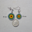 Earrings Dainty Tiny Double Sided Dangle Sunflower Chakra Mandala My Beauty Within